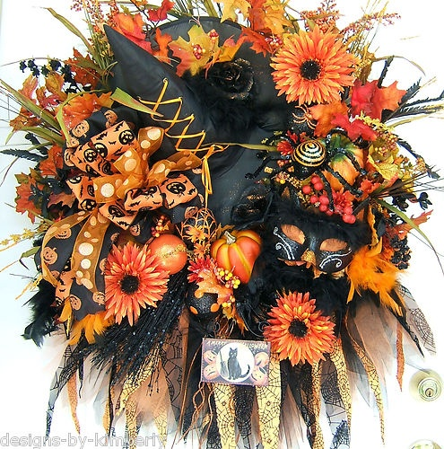 22 Best Halloween Floral Arrangements And Wreaths Images