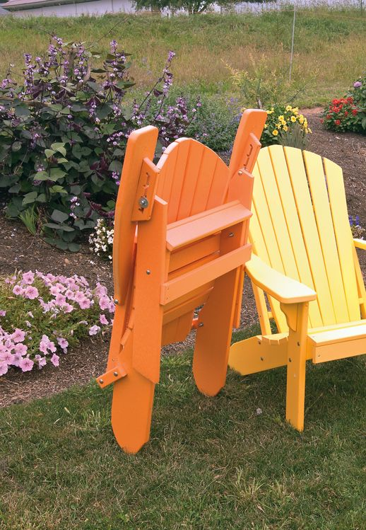 Polywood Adirondack chair - folding & reclining.  Brightly colored tangerine and lemon for a modern, fun look - great for the patio, porch, deck, or garden.  Amish made in the USA.