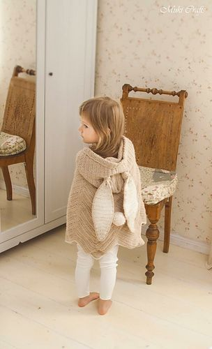 This is crochet pattern for hooded poncho Bubbles with bunny ears. The chevron…