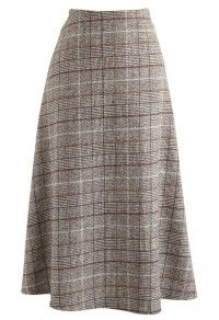 Retro Elegancy Check A-Line Skirt in Tan