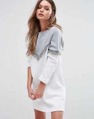 Boohoo Long Sleeve Sweat Dress With Fringe Detail