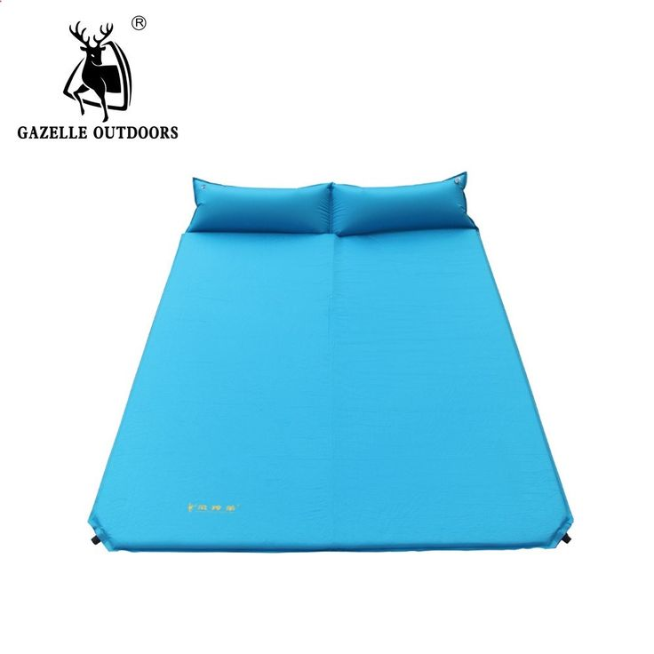Camping Mats - 66.38$ Watch more here - aimlq.worlditems.... - GAZELLE OUTDOORS camping mat high-grade double automatic blow-up outdoor camping inflatable bed with pillow picnic mat