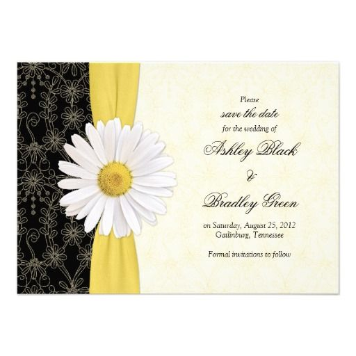 Daisy Black Yellow, Ivory Wedding Save The Date Card