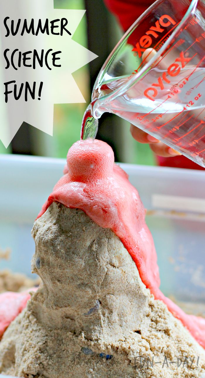 Let children create their own pretend volcano out of play sand this summer!  Sensory and science learning amid all the fun.