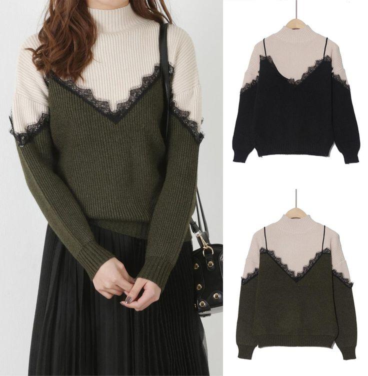 New Women Spring Casual Layered knitted T-shirt Japanese/Korean Fashion #Unbranded #TurtleneckMock #Formal