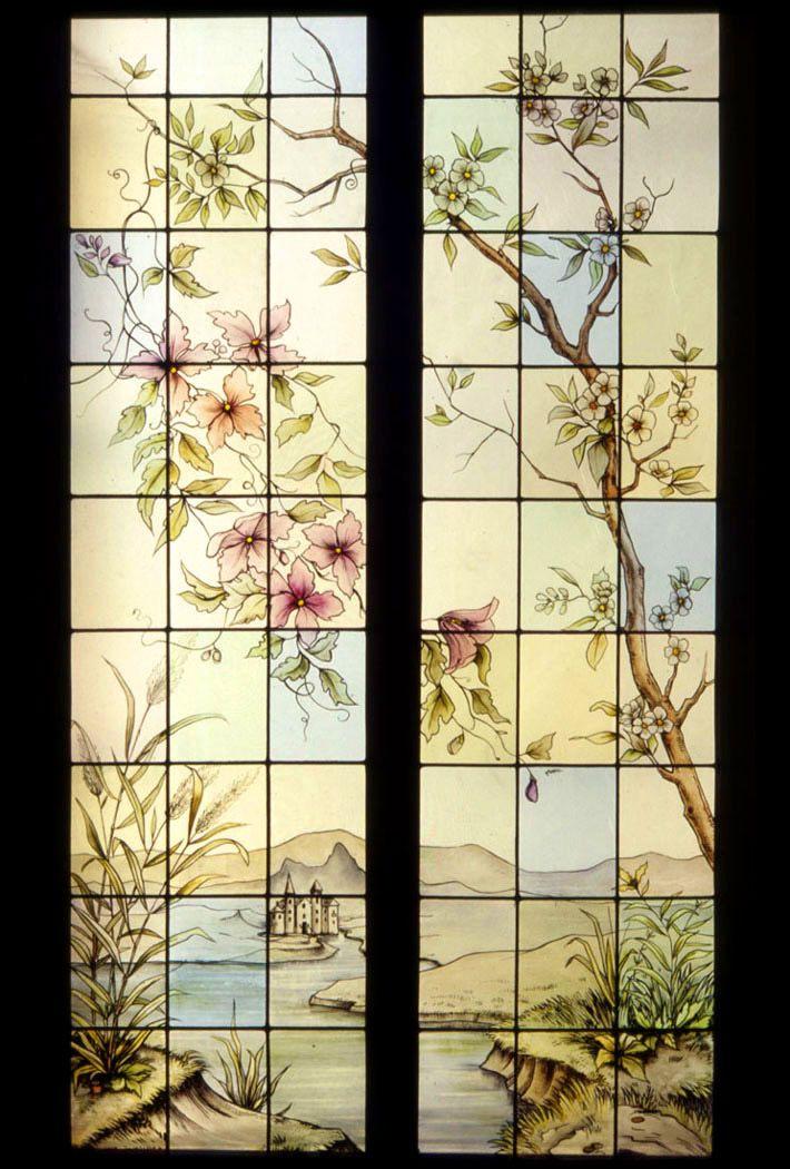 Vetrata artistica dipinta su vetro antico - Giudo Polloni