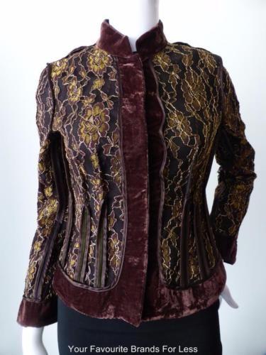 Contony-Size-8-US-4-EU-36-Vintage-Velvet-and-Lace-Jacket