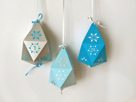 advent calendar paper hanging snowflake gem  3.5 x by RubiaCraft
