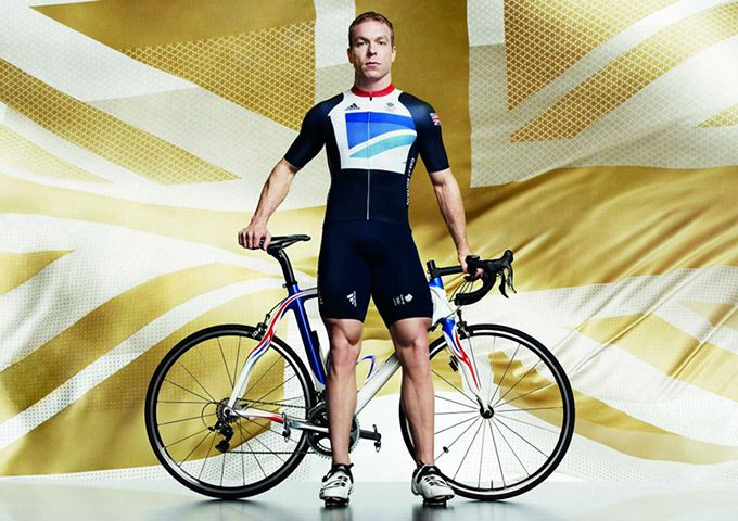 Chris Hoy in men's cycling kit. The official London 2012 Olympic and Paralympic Games Team GB kit, designed by Stella McCartney has been launched.