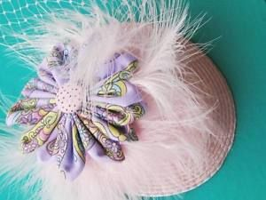 Fancy FUN Pink Kitsch Fascinator With Lilac Fabric Flower ONE OF A Kind Handmade | eBay