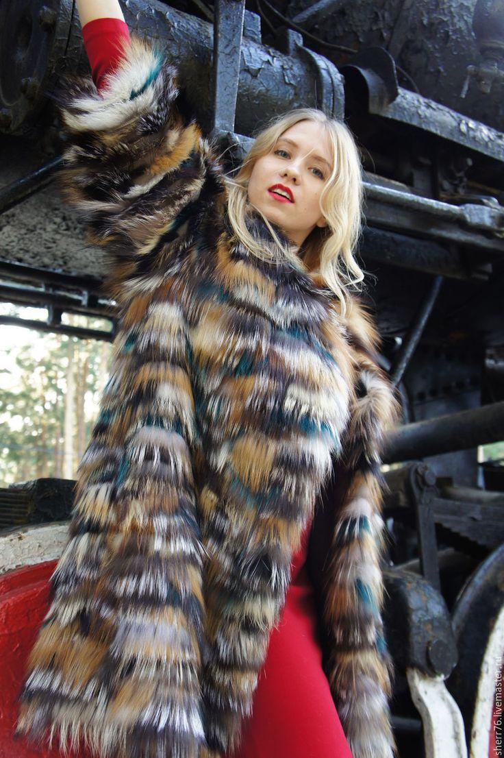 """Купить Шубка из лисы """"+изумруд"""" - комбинированный, шубка, меховая одежда, шубка из лисы, цветной мех"""