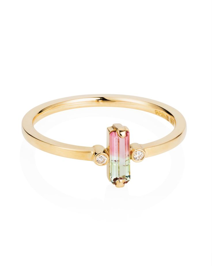 18ct Gold, Watermelon Tourmaline & Diamond 'Shard' Ring from Laura Lee Jewellery - The Premium Collection.