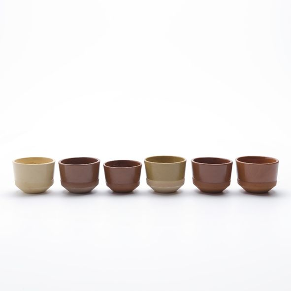 Cups part of the Clay service by Lonny van Ryswyck and Nadine Sterk (Atelier NL) for Royal Tichelaar Makkum. The project started by digging up, shaping and baking clay from different locations through the Netherlands http://www.wannekes.com/en/68-clay-service-atelier-nl-thomas-eyck-tichelaar-makkum/-/.