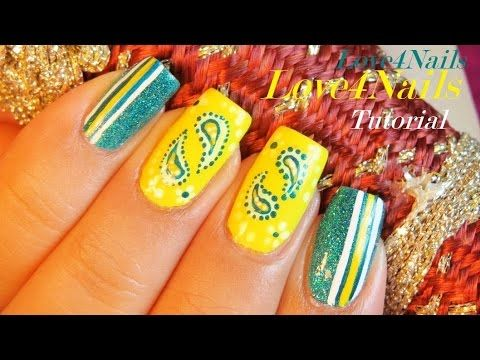 Yellow & Blue Bandana Nail Art Design Tutorial  http://miascollection.com