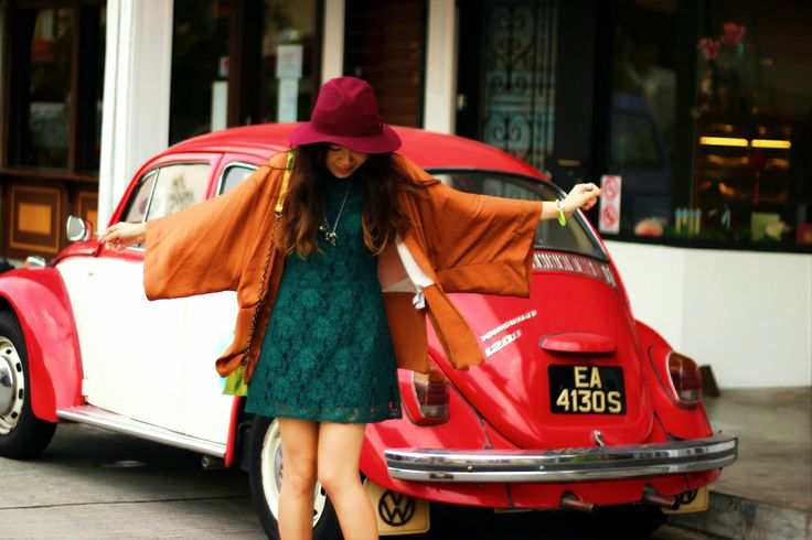 The Reformation Chloe dress, Zara kimono jacket, Shoe Cult Cat Call Chelsea boots, Nasty Gal Hologram Dream bag and Stevie hat, Wildfox Couture 10K Gold Bull ring