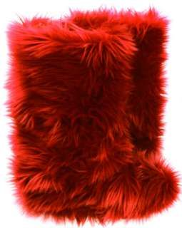Russian Red Faux Fur Boots - Fluffy Fuzzy Boots