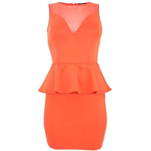 AX Paris Orange Mesh Panel Peplum Dress ($31) ❤ liked on Polyvore featuring dresses, vestidos, coral, orange party dresses, day party dresses, party dresses, holiday party dresses and red sleeveless dress