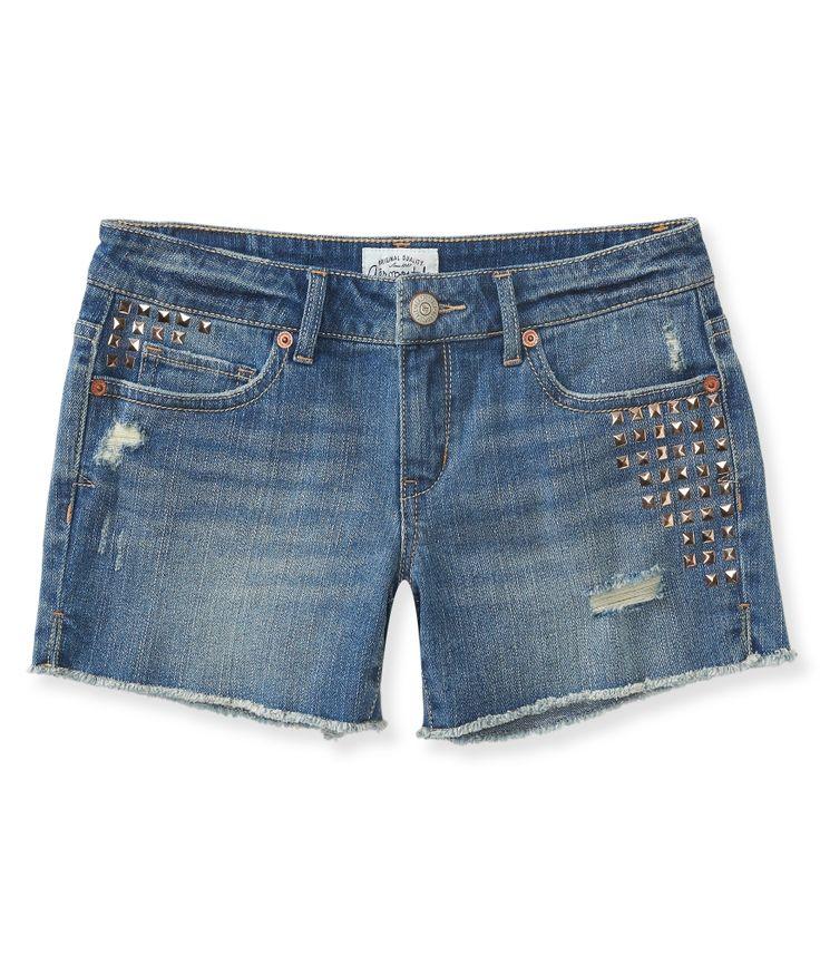 Studded Denim Midi Shorts from Aéropostale