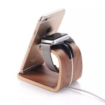 Universal Wooden Mobile Phone Charging Stand Charger Dock Holder For Apple i Watch iPhone 5 6 6S Plus Samsung Galaxy Sony HTC LG