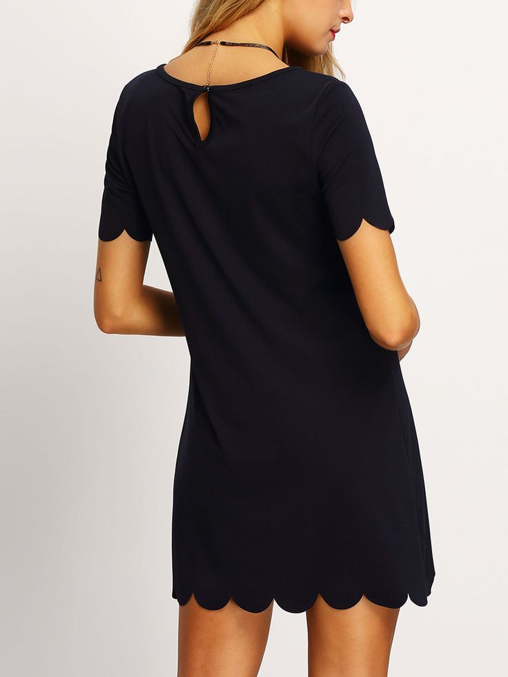 Fabric :Fabric has no stretch Season :Summer Type :Tunic Pattern Type :Plain Sleeve Length :Short Sleeve Color :Black Dresses Length :Knee Length Style :Casual Material :Polyester Neckline :Round Neck