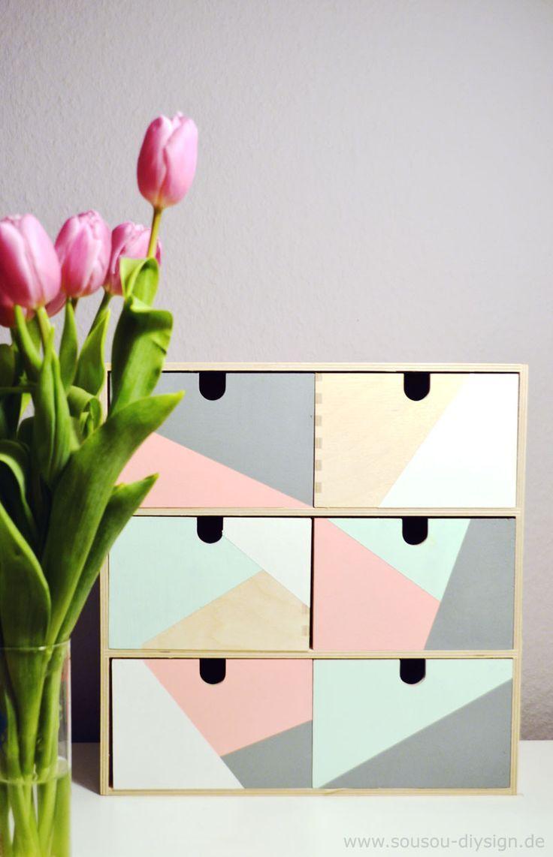 DIY repeindre des petites étagères avec des formes géométrique, facile et le rendu est super !