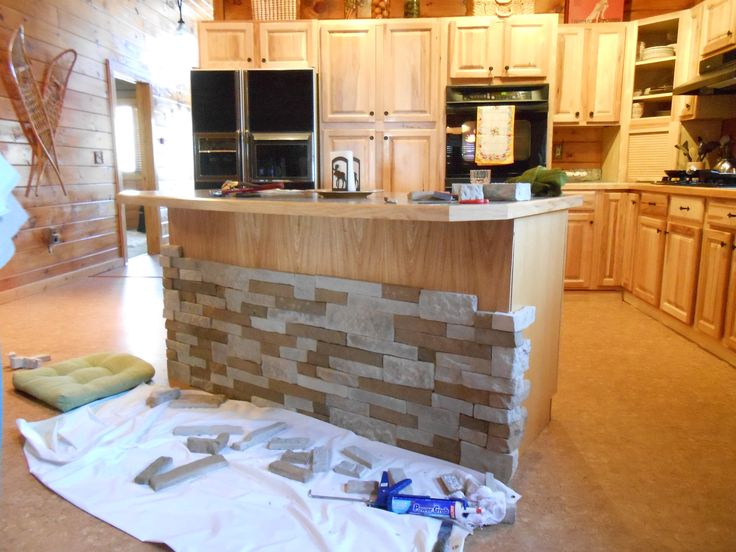 air stone kitchen island