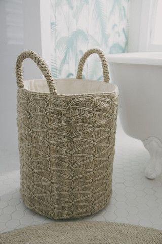 The Dharma Door Macrame Laundry Basket - Ripples Natural