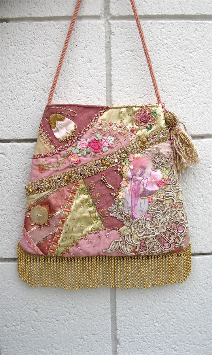Handbag Crazy Quilt Pink Purse Embroidery Beads Lace Hand Made