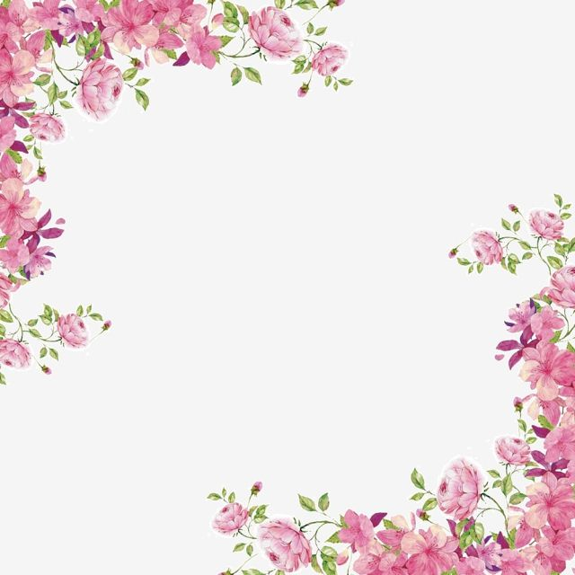 Corner Pink Painted Flowers Shading Decoration Painted Flowers Clipart Borders Clipart Flower Border Flower Frame Flower Background Wallpaper