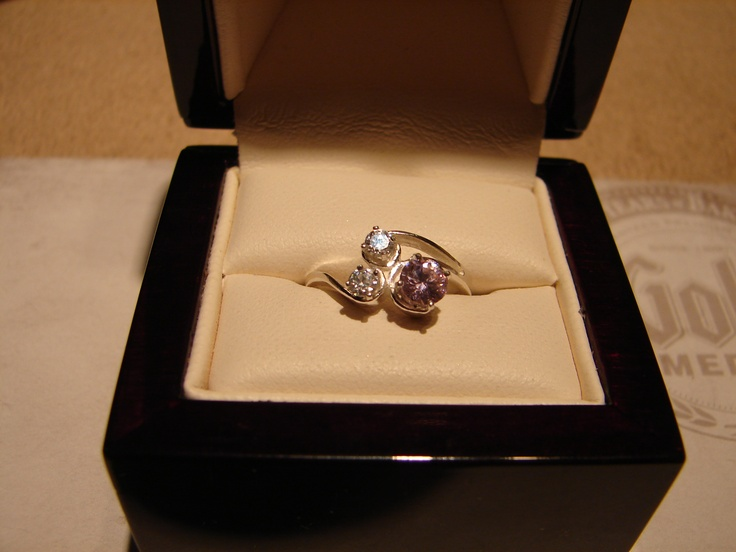 Sterling Silver ring with Pink Sapphire and White Topaz