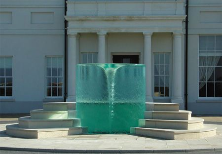 "Vortex water sculpture, titled ""Charybdis"" by William Pye."