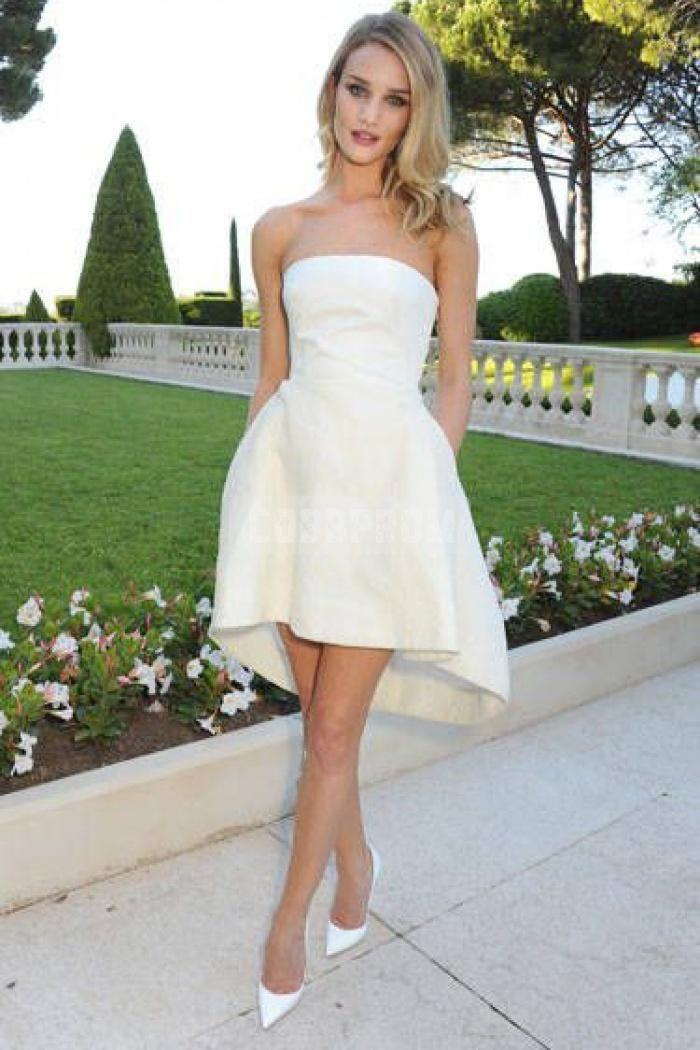 simple strapless a line satin high low wedding dress