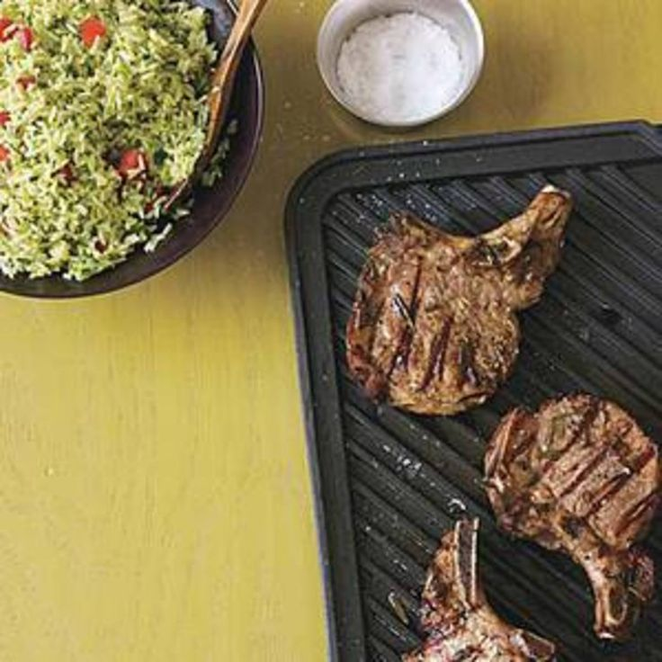 Drunken Pork Chops and Savory Green Rice with Fontina