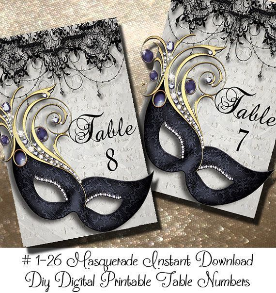 Instant Download Masquerde Printable Table Numbers 1-24 | Wedding Table Numbers | Masquerade | Birthday Decoration | Party Decoration