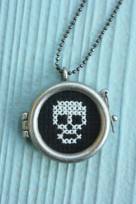 Cute little cross stitch necklace! Hey, I found this really awesome Etsy listing at https://www.etsy.com/listing/196880715/skull-cross-stitch-necklace