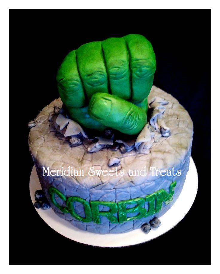 "Hulk ""SMASH"" cake by fb page ""Meridian Sweets and Treats."" Hulk hand is RKT. https://www.facebook.com/MeridianSweetsAndTreats/"