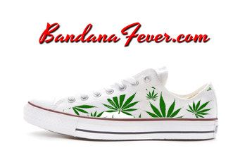 Converse Low White Weed Pot Leaf by Bandana by BandanaFeverDesigns