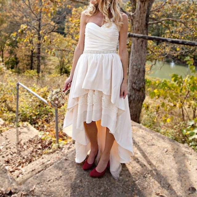 Country dress high low hemline with brown cowboy boots for High low wedding dresses with cowboy boots