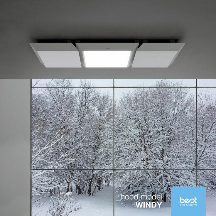 #Windy to okap sufitowy o minimalistycznym i wyrafinowanym designie. Dzięki regulacji natężenia światła led, możecie stworzyć nastrój o każdej porze. Foto: Best