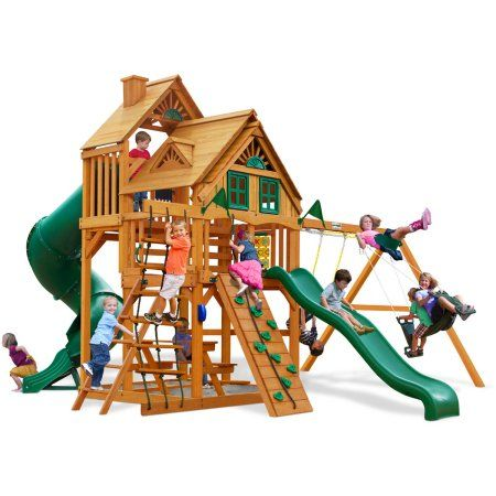 Gorilla Playsets Great Skye I Treehouse Swing Set with Amber Posts, Beige