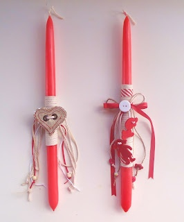 large red easter candles