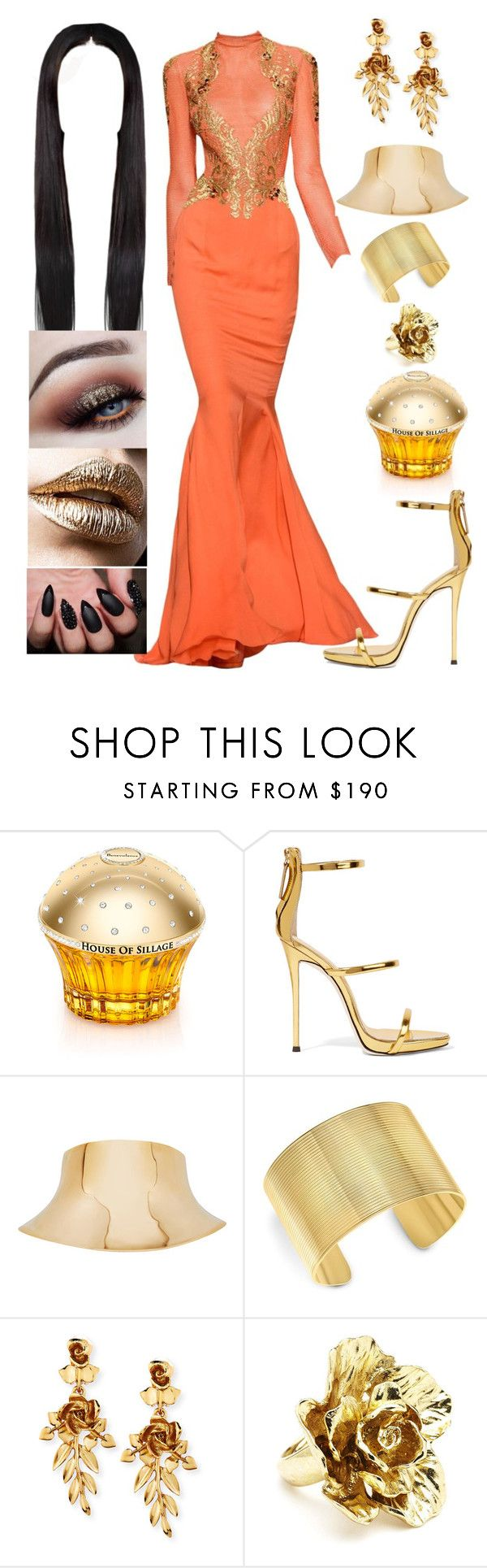 """""""Untitled #2044"""" by the-wanted-potato ❤ liked on Polyvore featuring House of Sillage, Giuseppe Zanotti, Balmain, Theo Fennell, Oscar de la Renta and Pat McGrath"""