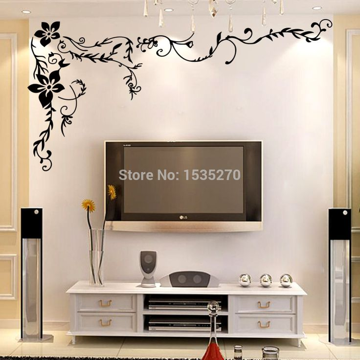 Wonderful Flower Vine Wall Stickers For Home TV Background Wall Art 8461 DIY Black Beautiful Pattern Design Dropshipping