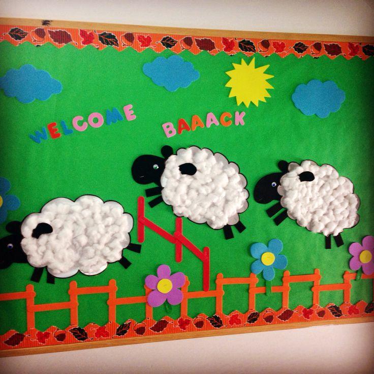 Bulletin boards, welcome back, kindergarten, school, sheep, Cambridge school of Bucharest , preschool, Autumn, back to school, flowers, garden