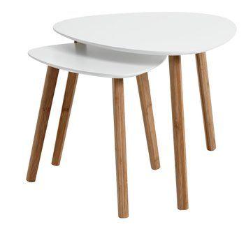 Stolik TAPS L bambus/biały
