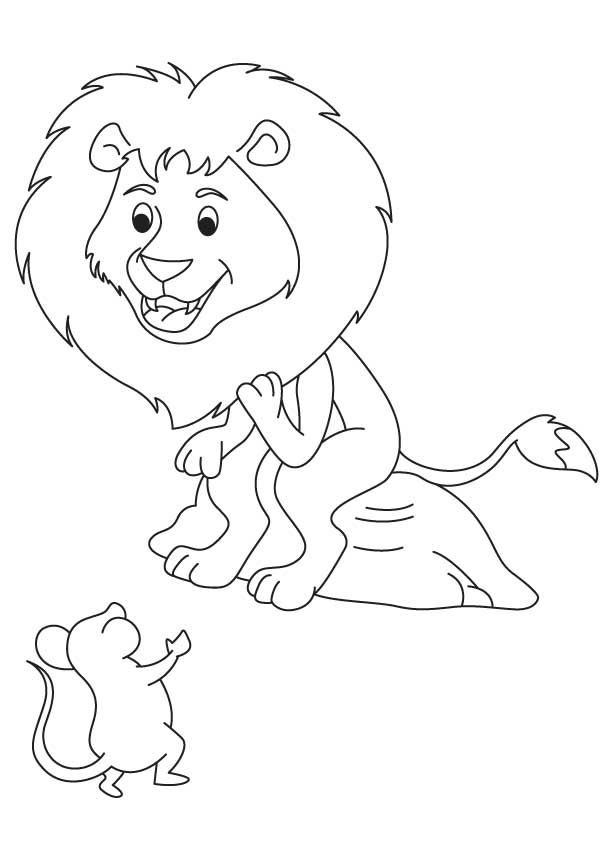 Happy Lion With Mouse Coloring Page Coloring Pages Lion And The