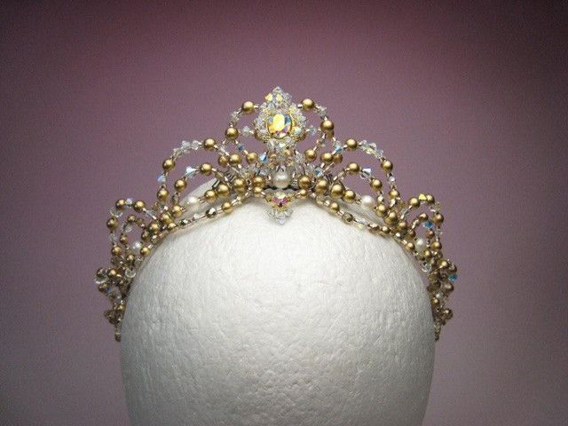 Very delicate tiara suitable for the role of Princess Aurora but also for amny other classical variations. Gold frame and pale pink stones. Entirely hand-made. Ships in 3-4 weeks. $ 205.00 + shipping