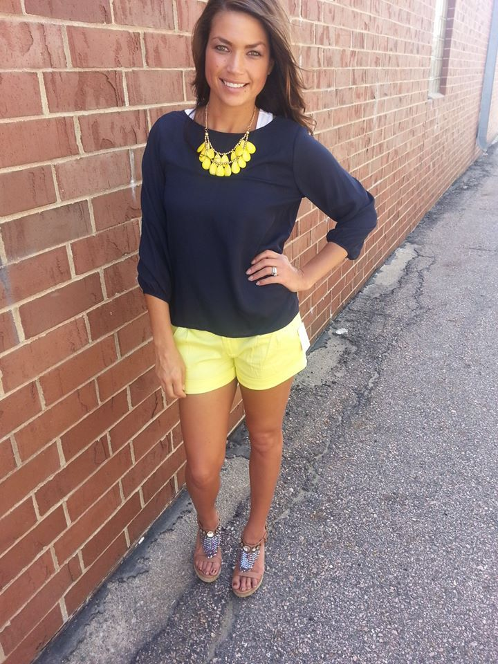 Navy Yellow   shorts bows bow back     Shop our online boutique ~ www.shopbhb.com