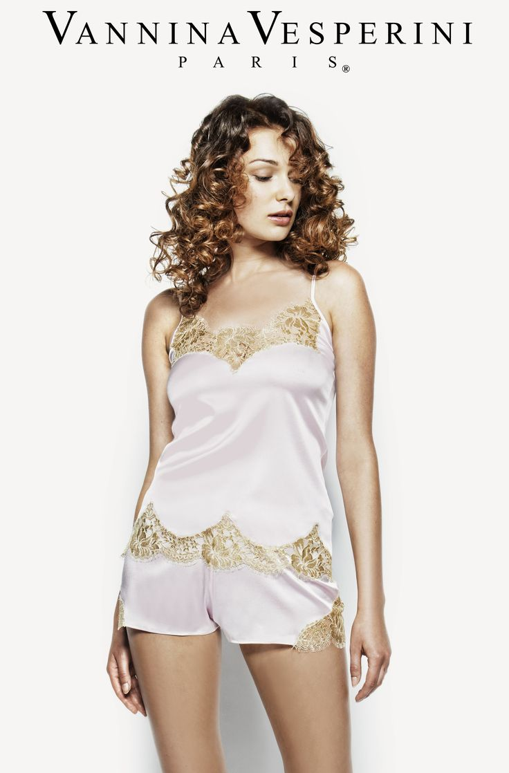 Vannina Vesperini S/S 15 Collection. Splendide theme. Lingerie set with silk caraco & boxer with inlayed French Chantilly Leavers lace in Princess-Gold color