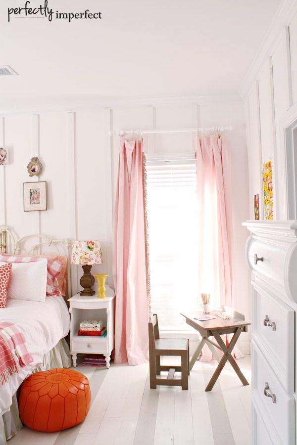 sweet girl's room with striped floors and wall paneling by @Shaunna West